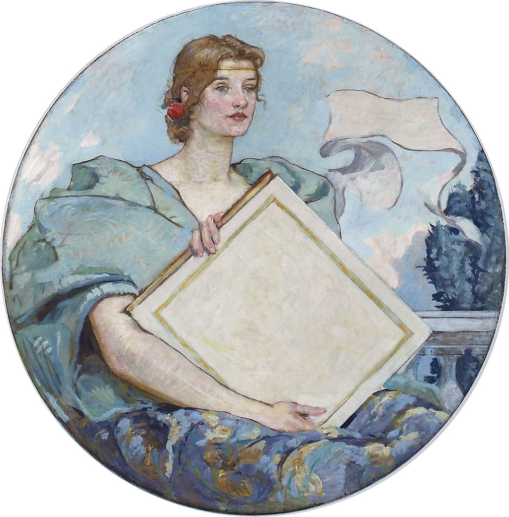 """Knowledge"", Robert Lewis Reid. Im Besitz der Library of Congress, Prints & Photographs Division, LC-DIG-highsm-02214 – Lizenz: gemeinfrei."