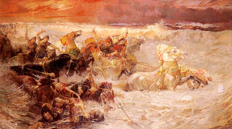 """Pharaoh's army engulfed by the Red Sea"", Frederick Arthur Bridgman – Lizenz: gemeinfrei."