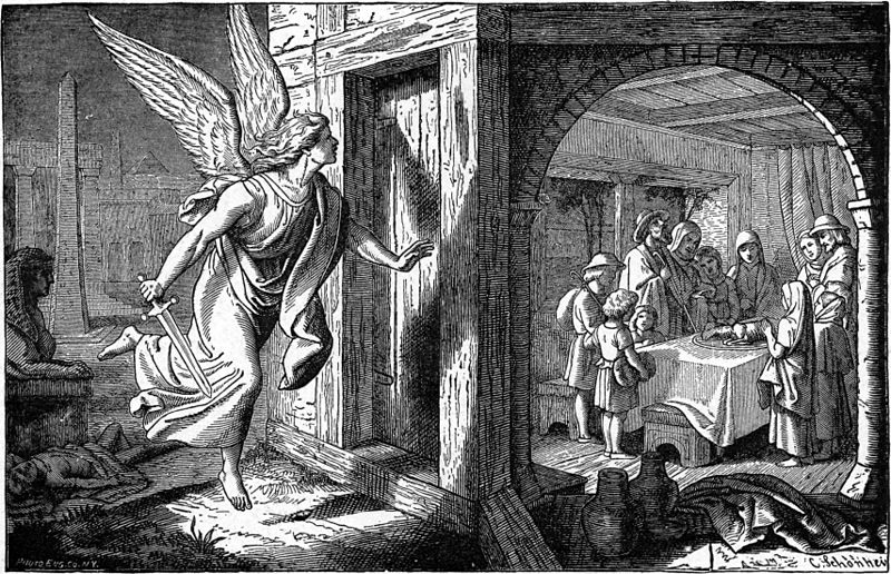 """The Angel of Death and the First Passover"" aus dem Buch ""Bible Pictures and What They Teach"" von Charles Foster, 1897 – Lizenz: gemeinfrei."