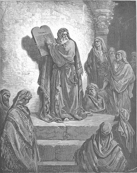 Gustav Doré, Ezra Reads the Law to the People (Neh. 8:1-12), in Doré's English Bible, 1866 – Lizenz: gemeinfrei.